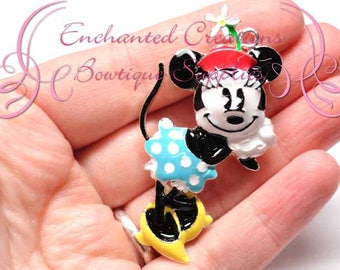 "2"" Minnie Inspired Charm, Rockabilly Polka Dot Chunky Pendant, Keychain, Bookmark, Zipper Pull, Chunky Jewelry, Purse Charm, Planner Charm"