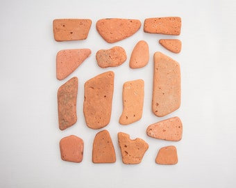 16x OCEAN BRICK PIECES terracotta brick red, orange brick slabs, art & craft, Reclaimed salvage supplies, raw materials, mosaic tiles, sea