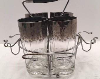 Silver Ombre Glasses with Caddy ~ Set of Four Glasses ~  Mid Century Barware  Silver Fade ~ Madmen Dorothy Thorpe style ~Vintage