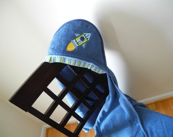 rocket ship applique hooded childs towel many colors