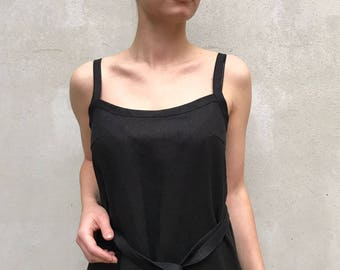 Black Linen Cami Dress, Linen Maxi dress Black, Base Layer, Slip Dress, Night Dress, Linen nightgown Strap dress Sleeveless linen dress