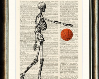 Basket Ball Playing Skeleton - Upcycled vintage image printed on a late 1800s Dictionary page Buy 3 get 1 FREE