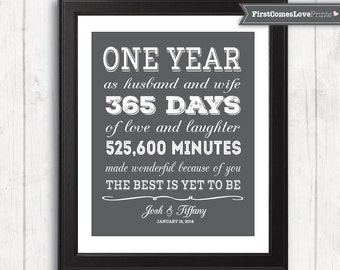 Paper First Anniversary Gift for Him for Her Personalized Art Print Any Colors Unique Anniversary Gift for Wife for Husband Gray Wall Art
