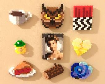 Twin Peaks Retro Magnets Perler Bead Pins 8 bit Pixel Art