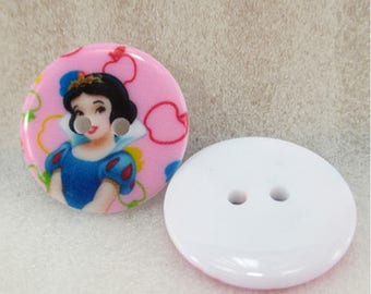 Set of 5 buttons white Disney Princess snow