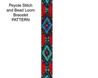 Bead Loom or 2 Drop Peyote Stitch Beading Pattern - 2 drop Peyote Bracelet - Bead Loom Pattern - PP44