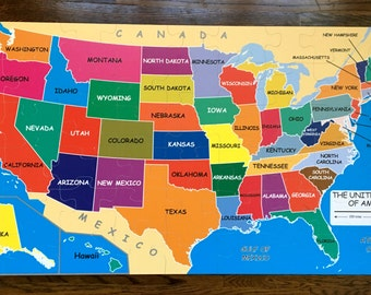 Usa map puzzle kids etsy jumbo size floor puzzle map of the usa 4x2 durable plastic kids puzzle toddler gift kids puzzle gift kids activity united states map gumiabroncs Images