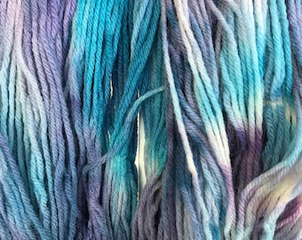 """Purple and Blue Wool Yarn - Worsted Weight 4 ply - Hand dyed Variegated - """"Boreal Forest Mystery Sheep"""""""