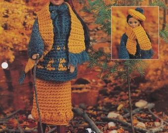 Autumn Ensemble, Annie's Attic Fashion Doll Crochet Pattern Club Leaflet FCC10-03