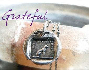 BEST friend, GRATEFUL Friend -Handmade Wax Seal Necklace, Jewellery,  Sterling DOG Charm, Gift For Dog Lover, Best Friend