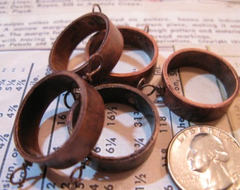 Upcycled Copper Pipe Pendant Bezel - Open Back for Resin, Polymer, etc. Antiqued with 2 Loops - Set of 5