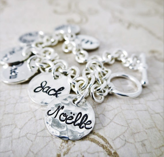 Family Charm Bracelet   Jewelry for Mom   Jewelry for Grandma   Sterling Silver Charm Bracelet   Kids' Names   Grandkids Names   Custom