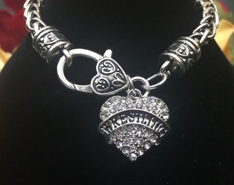 Wrestling Bling Bracelet~Sports Crystal Heart Pendant~Rhinestone Heart~FAST Shipping from the USA~