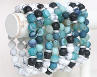 Blue/Green Druzy Agate and White Howlite Diffuser Bracelet, 8mm, Lava Rock Bead Bracelet for Diffusing Essential Oils