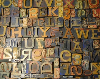 Reserved.......193 letterpress letters HUGE LOT WHOLESALE price antique vintage  letters, ampersand, numbers, Wood Letters Words Numbers