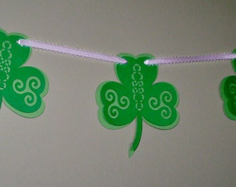 Shamrock Triskal Garland Banner St Patrick's Day Irish Celtic Knot Papercut