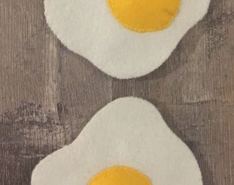 Pretend Play Food Set of Two Fried Eggs Felt Food Make Believe Play Kitchen