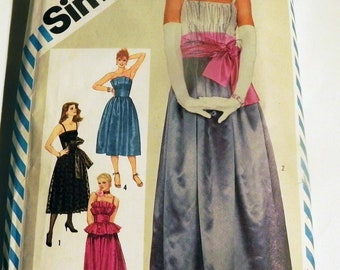1980s Prom Dress Formal Bridesmaid Evening Gown Strapless pleated bodice sewing pattern Simplicity 6211 Size 14 Bust 36""