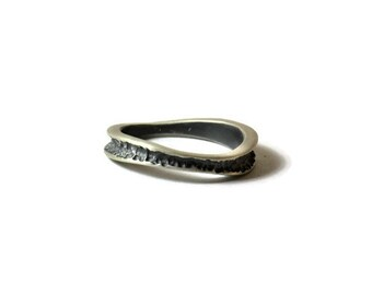 Wave ring Hammered Sterling silver ring Oxidized silver ring One of a Kind Men jewelry Women ring Bohemian ring Boho ring