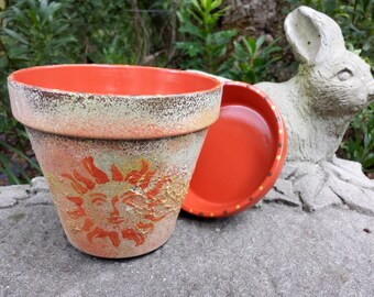 Rustic Sun Face - Six Inch Pots - Painted Flower Pots
