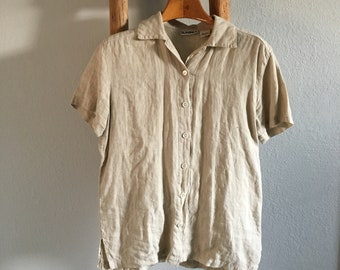 Vintage Tan Linen Button Up Top