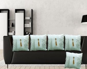 Premium Design White Jama & Raw Silk Phunda Decorative Cushion Cover (Set of 5)