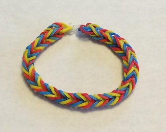 Primary Fishtail Rainbow Loom Rubber Bracelet