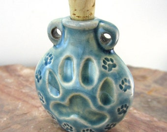 Peruvian Ceramic Raku Paw Print Bottle