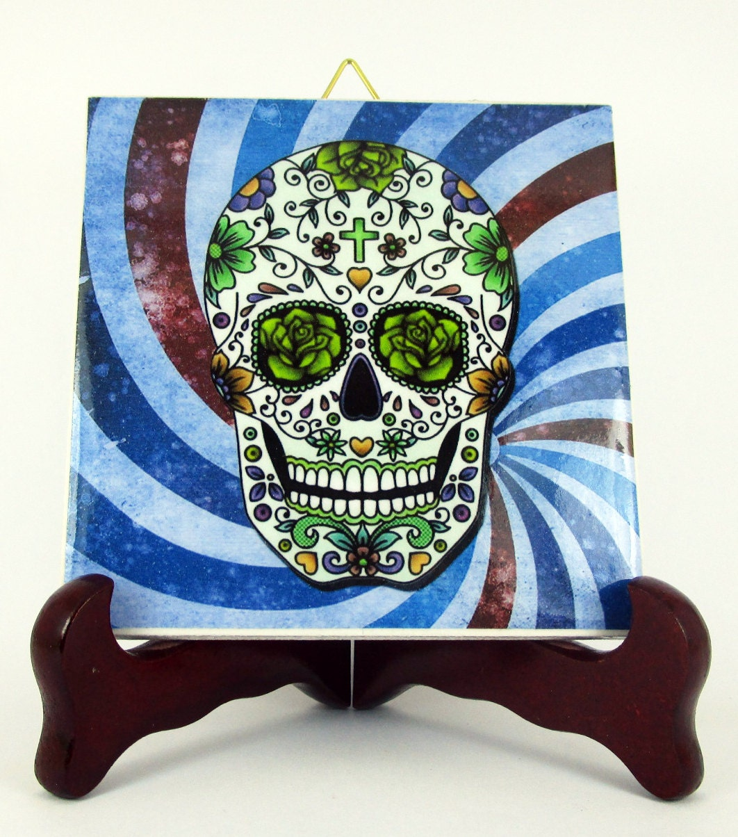 Calavera mexicana ceramic tile mexico day of the dead santa zoom dailygadgetfo Images
