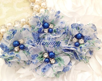 4 pcs Aubrey: ROYAL BLUE Green Watercolor Floral Patterned -  Soft Chiffon with pearls and rhinestones Mesh Layered Small Fabric Flowers.