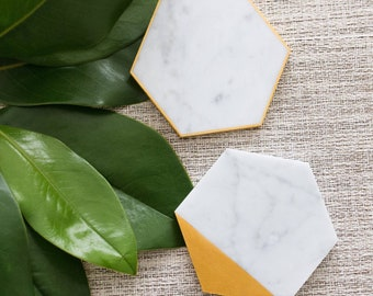 3 Inch// Customized Calligraphy Hexagon Marble Coasters. Wedding Place Cards. Escort card. Personalized Hexagon Coasters.Wedding Favors.