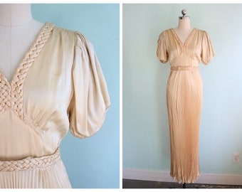 Vintage 1930's Champagne Pleated Gown | Size Small