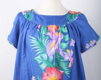 Hawaiian Muumuu Long, Summer, Flower, Dress, Blue, Maxi, Short Sleeves, Scoop Neckline, Large Front Pockets, Light, Casual, Retro ~ 170516