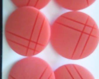 6 Vintage Buttons Blush Pink