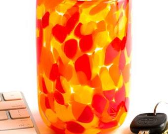 Hand Blown Glass Tumbler with Hot Color Dots