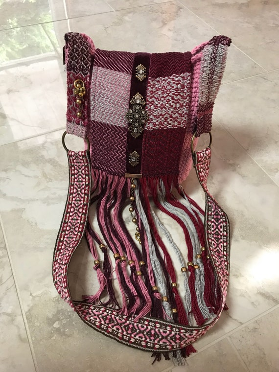Handmade Pink and Burgundy Crocheted Bucket Bag  Bohemian Boho Hippie Over the Shoulder or Crossbody Purse with Beaded Fringe
