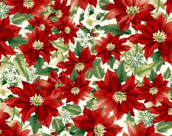 Poinsettia All Over Anti-Pill Fleece Fabric by David Textiles by the yard