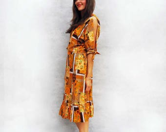 Boho Tribal Dress, Vintage 1970s Dress, Orange Dress, Floral Dress, Summer Dress, Hippie Dress, Bardot Dress, Festival Dress, Bohemian Dress