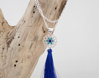 Blue zircon, cobalt blue and silver chain necklace with tassel (SAUT10)