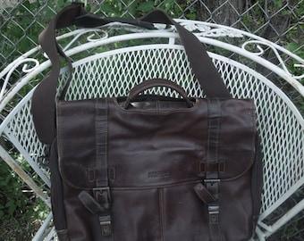 Vintage Kenneth Cole Leather Brown Briefcase Attache Laptop Bag Tote Messenger Handbag