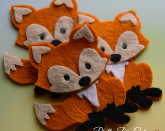 Felt Foxes, Red Fox, Woodland Creatures, Felt Wild Animal Shapes, Die Cut Animal Craft Embellishments
