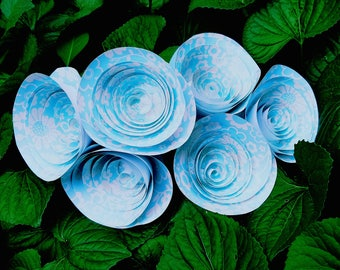 READY TO SHIP - Baby Blue Patterned Paper Flower Bouquet - Spiral Paper Flowers, Rolled Paper Flowers, Wedding Flowers Decor