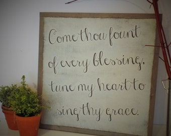 Come Thou Fount of Every Blessing Wood Sign Christian Wall Art Inspirational Wooden Sign Rustic Distressed