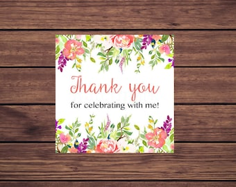 Favor Tags, Coral Pink Floral Thank You Favor Tags Instant Download Printable Favor Tags, Digital 142