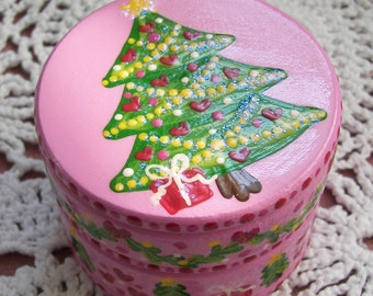 Hand Painted Love Boxes Christmas Tree Box Wood