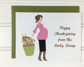 Thanksgiving Card For Expectant Dad, Dad-to-be, Baby Daddy, Husband, Boyfriend, Grandmother, Grandfather, Wife, Girlfriend, Baby Bump, Mom