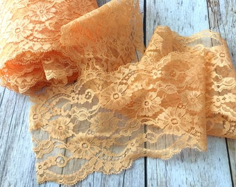 5 yard apricot color lace trim 5 inch width