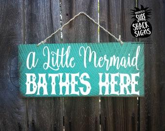 little mermaid decor, little mermaid sign, mermaid decoration, mermaid gift, little mermaid nursery decor, little mermaid bathroom sign