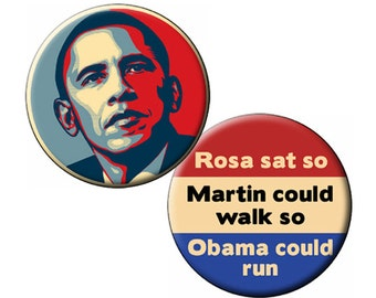 "2 Pins/Magnets/Mirrors Keepsakes Two Popular Obama Titles ""Obama Hope"" and ""Rosa Sat"" Two 2.25"" Pinback Badges or Magnets"