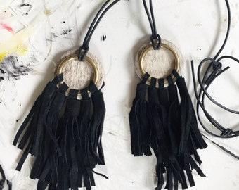 Black Leather Fringe Necklace // Boho Necklace, Fringe Necklace, Brass Necklace, Statement Necklace